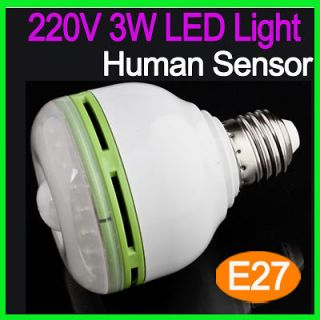 Infrared Human Sensor White LED Light Lamp Torch Bulb E27 3W 220V
