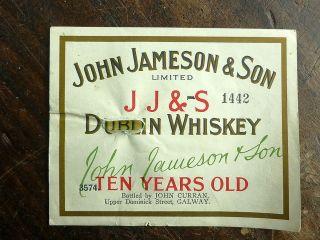 Large Vintage Jameson Irish Whiskey Label Crock Barrel John Curran