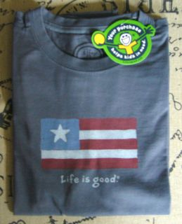 Life is good Mens Crusher tee   American Flag   true blue   New w