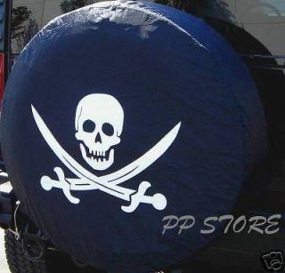 SPARE TIRE COVER 24.5 25.9 with safari Pirate Skull white on black