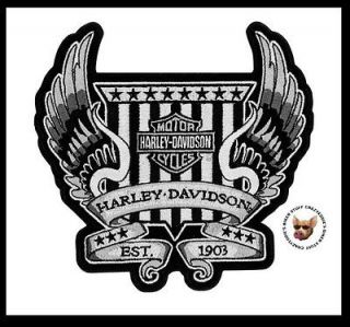 HARLEY DAVIDSON LARGE WINGED CREST EST. 1903 VEST JACKET PATCH