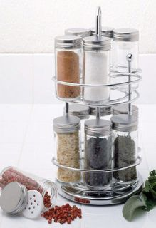 STAINLESS STEEL SPICE RACK WITH ROTATING STAND &12 GLASS SPICE JARS
