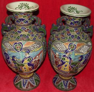 SIGNED PAIR ANTIQUE JAPANESE MORIAGE SATSUMA 16 VASES DRAGON HANDLED