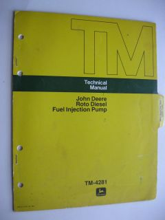 1974 JOHN DEERE ROTO DIESEL FUEL INJECTION PUMP TECHNICAL SERVICE