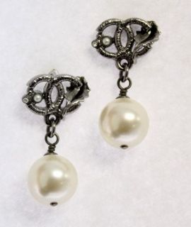 CHANEL Gunmetal Double CC Logo Leaf Rhinestone Pearl Drop Earrings 11A