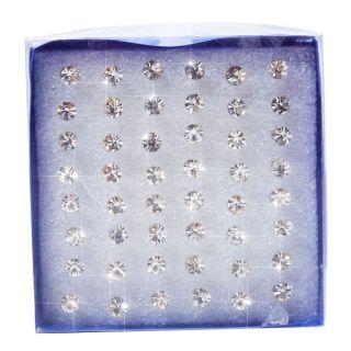 48 Pcs Wholesale Charming Clear Rhinestone Crystal Ear Studs Earrings