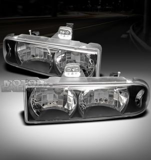 98 04 CHEVY S10/BLAZER PICKUP TRUCK CRYSTAL HEADLIGHTS BLACK LS LT ZR2
