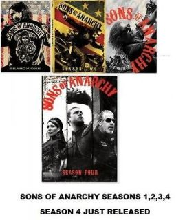 Sons of Anarchy DVD SET. SEASONS 1,2,3,4. SEASON 4 JUST RELEASED FREE