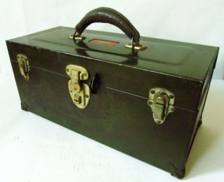 Vintage Army Green UNION STEEL CHEST Tool Box   LEATHER HANDLE ~ TRAY