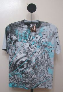 LA 3   LA Ink Gray Skeleton With Crown Tattoo Art T Shirt   Size L
