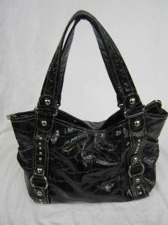Kathy Van Zeeland Black Croc Handbag Shoulder Bag Purse