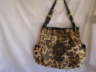 Kathy Van Zeeland Leopard Animal Print Bling Crystal Purse Handbag