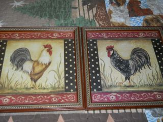 Home interior HOMCO Rooster pictures pair