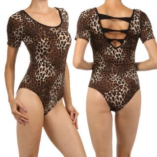 Leopard Bodysuit Top Animal Print Leotard Bandage open Back Clasp