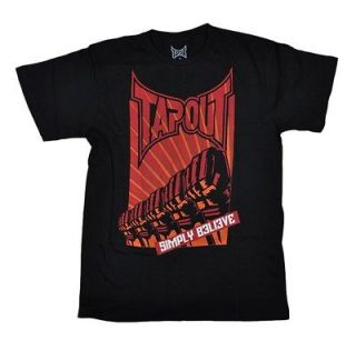 NEW Mens TAPOUT Logo T Shirt WORKOUT UFC MMA Black Orange Simply