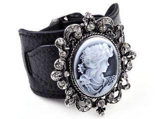 Crystal Cameo Sculpture Leather Buckle Bangle Bracelet Wristband