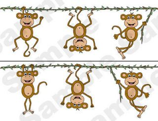 JUNGLE MONKEYS NURSERY BABY KIDS ROOM WALLPAPER BORDER STICKERS DECALS