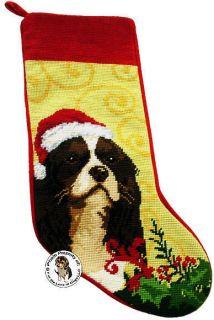 TRI COLOR CAVALIER KING CHARLES SPANIEL DOG CHRISTMAS NEEDLEPOINT