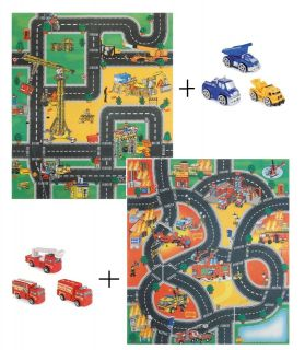 PLAY MAT ROAD RUG CAR BOYS KIDS CHILDREN GRIP FIRE ENGINE/CONSTRUCTION