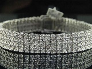 MENS 4 ROW WHITE GOLD FINISH REAL DIAMOND BRACELET TENNIS LINK BANGLE