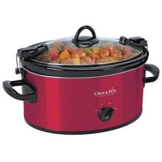 SCCPVL600R 6 Quart Manual Cook & Carry Oval Portable Slow Cooker Red