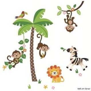 Giant Kids Nursery Wall Sticker Decals   Jungle Monkeys & Palm Tree