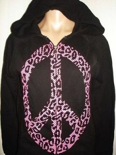from Zumiez HOT PINK LEOPARD print PEACE SIGN HOODIE sweatshirt BLACK