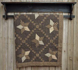 Country Farmhouse Star Throw by Victorian Heart Quilt Black Tan