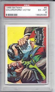 1966 Topps Batman Black Bat, #6 Chloroform Victim, PSA 6 EXMT