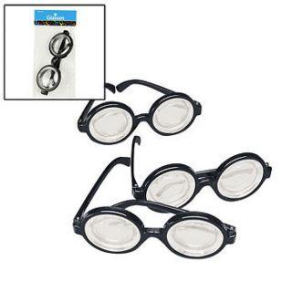Lot of 12 Plastic Black Frame Nerd Glasses Costume Party Favors