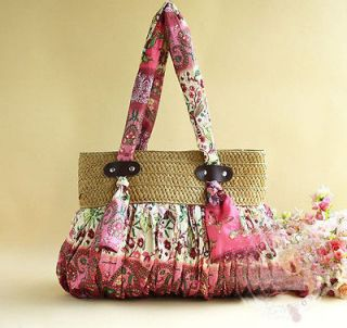 Newly listed Bohemian red big nature straw Plaited shoulder bags,beach