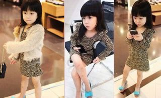 Girl Kid Children Dress Fashion Animal Print Long Sleeve Dress Size 2