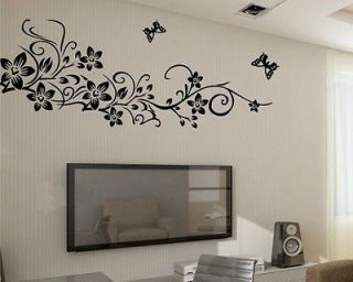 Flower Butterfly Removable Wall Sticker Home Decor Art Decal 90*60