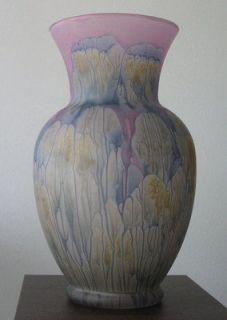rueven hand painted glass vase nouveau art glass co 7 tall 4 wide