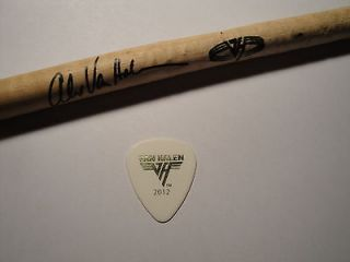 Eddie Van Halen Guitar Pick + Alex Van Halen Stage Used Drumstick 2012