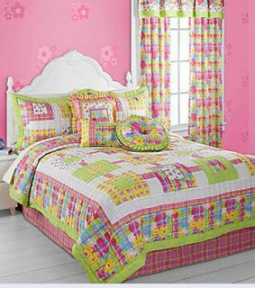 JILLY Full TAILORED Bed Skirt Pink & Lime Green PLAID 14 drop Cotton