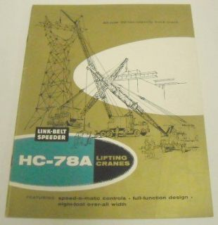 Link Belt Speeder 1960 HC   78A Lifting Crane Brochure