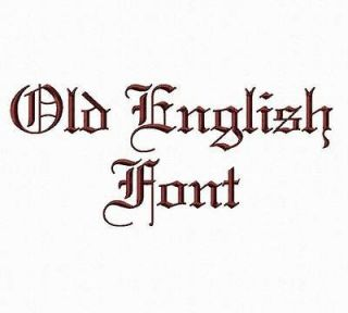 Old English Embroidery Font Alphabet Designs   3 Sizes