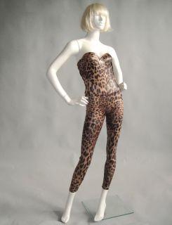 leopard Print Strapless Spandex Unitard Bodysuit Leotard Jumpsuit
