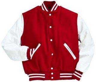 red white varsity jacket in Coats & Jackets