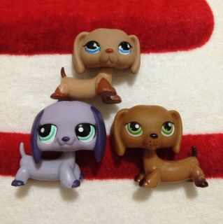 Littlest pet shop 3 dachshund purple puppy dog # 139  518 1267 rare
