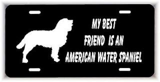 friend is an American Water Spaniel Dog car aluminum license plate tag