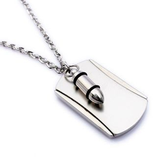 Army Style Cool Silver Bullet Beauty Dog Tag Mens Pendant Necklace