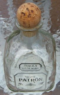 Silver Patron Tequila bottle w CORK numbered hand blown small bottled