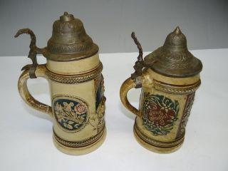 Old German Star Hallmarked Ceramic Metal Lidded Beer Steins Mugs NR