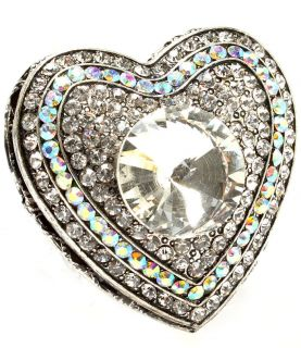 Crystal Locket Heart Stretch Ring Trinket Box Antique Silver Ton