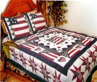 AMERICAN FLAG Full/Queen or King QUILT SET   STAR PRIMITIVE COUNTRY