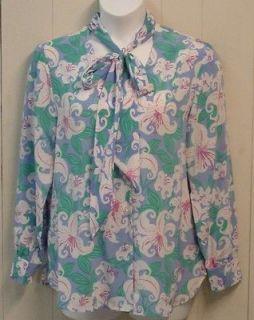 Bob Mackie Floral Print Silk Shirt W/Tie Size 1X