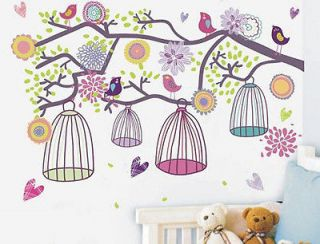 Style Happy Color Birdcage&Flower Tree Nursery Wall sticker Decor