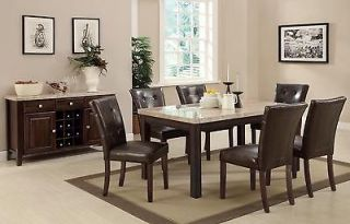 New Milton 7 PC Dining Set with Real Marble Top